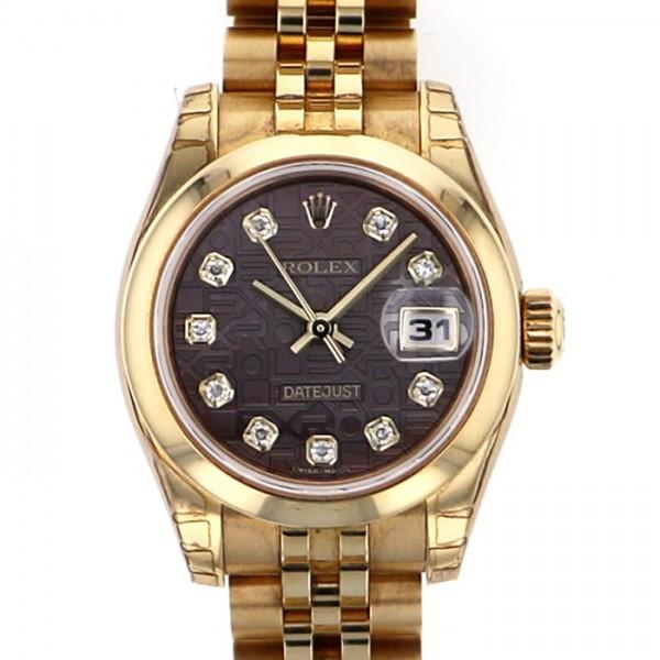 ロレックス ROLEX デイトジャスト 179168NG ブラック文字盤 レディース 腕時計 【中古】