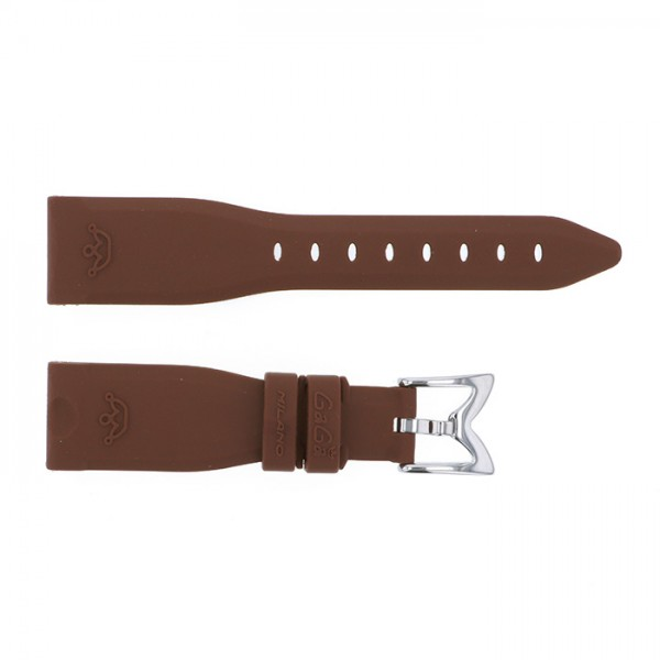 純正ストラップ STRAP ガガミラノ 40mm用 ブラウンラバー 新品 腕時計替えベルト レディース