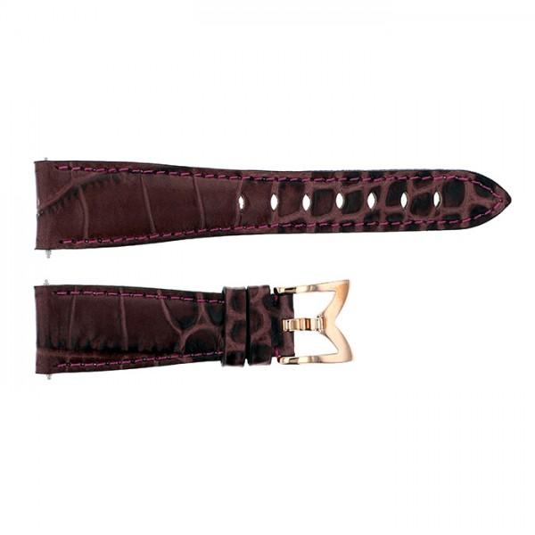 純正ストラップ STRAP ガガミラノ 40mm用 パープルカーフ型押し 新品 腕時計替えベルト レディース