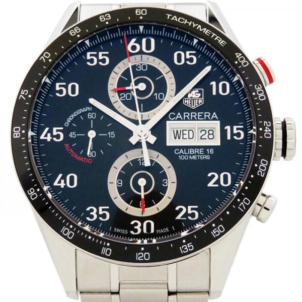 タグ・ホイヤー TAG HEUER カレラ タキメータークロノ デイデイト CV2A10.BA0796 ブラック文字盤 メンズ 腕時計 【中古】