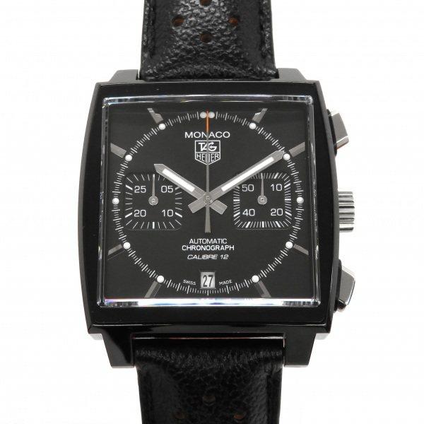 タグ・ホイヤー TAG HEUER モナコ クロノグラフ ACM ブラックスティール CAW211M.FC6324 ブラック文字盤 メンズ 腕時計 【中古】