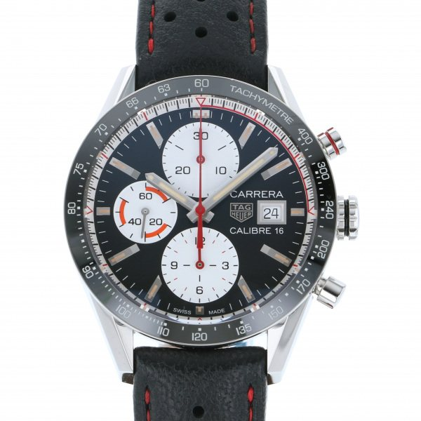 タグ・ホイヤー TAG HEUER カレラ キャリバー16 クロノグラフ CV201AP.FC6429 ブラック/ホワイト文字盤 メンズ 腕時計 【新品】