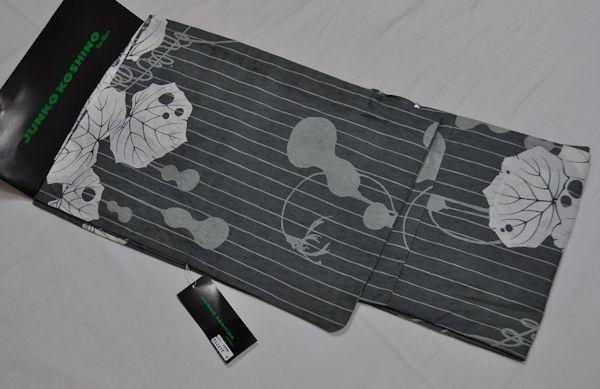 otjk3*送料無料M寸/麻混/コシノジュンコ男性プレタ浴衣単品/雰囲気のあるグレー系に縞と瓢箪:ひょうたん♪すっごく小粋♪【smtb-k】【kb】【あす楽対応_東海】