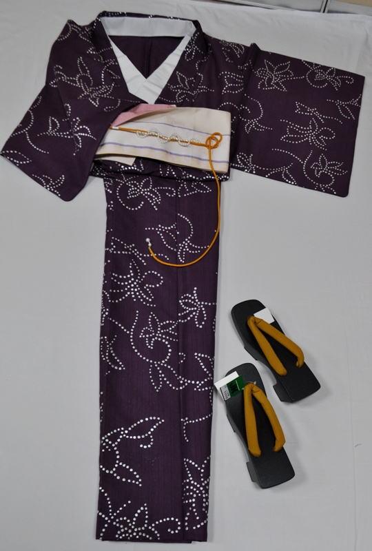 YA5**大人の個性的なJK浴衣5点セット**紫系に不思議な雰囲気なリボン風&蝶風【あす楽対応_関西】【smtb-k】【kb】