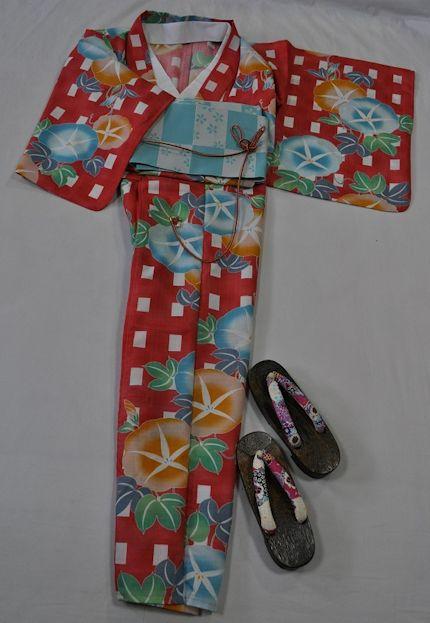 Ykk20*【送料無料】(Mai Shiraishi Nogizaka46)かわいい浴衣4点セット/かすれた雰囲気の臙脂系に&□と大輪の朝顔*♪*す*て*き ~お届けしたその日に、ささ~っとすぐお出かけできますね~【あす楽対応_関西】【smtb-k】【kb】