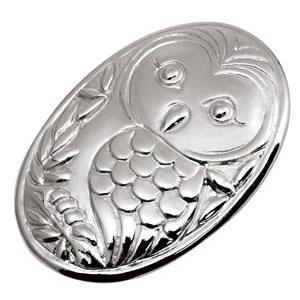 簡単装着でボタンをお洒落に!銀製ビズクリップ【フクロウ】【代引き手数料無料】【送料無料】