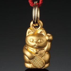金と福を招く 純金製「招き猫」根付【代引き手数料無料】【送料無料】