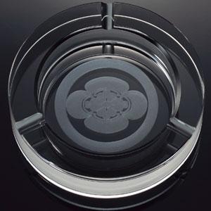 継承されゆく家紋 クリスタルガラスサークルカット灰皿【代引き手数料無料】【送料無料】