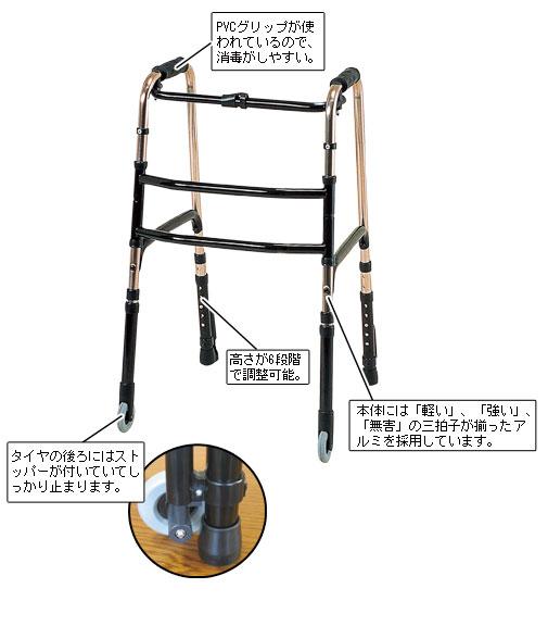 折りたたみ式歩行器(キャスター付)[代引き手数料無料][送料無料]