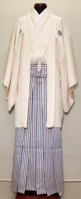 【中古】正絹 白紋服セット  Lサイズ