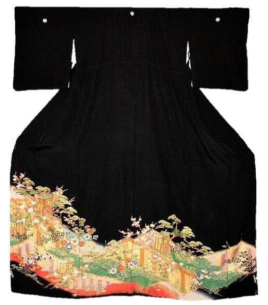 【中古】正絹留袖 江戸妻模様 黒留袖