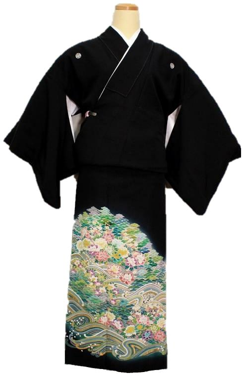 【中古】正絹 留袖【黒留袖】 江戸妻模様
