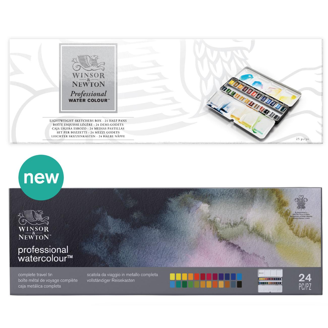 Winsor&Newton アーチスト水彩絵具 プロフェッショナルウォーターカラー 24色セット ハーフパン ライトウェイト メタルボックス キャッシュレス 5%還元対象