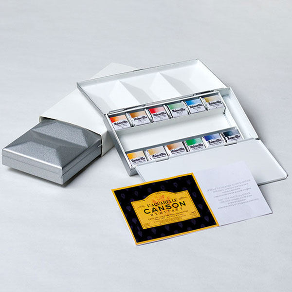 マイメリブルー 透明水彩絵具 単一顔料 ハーフパン12色シルバーメタルボックス キャッシュレス 5%還元対象