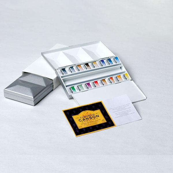 マイメリブルー 透明水彩絵具 単一顔料 ハーフパン16色シルバーメタルボックス キャッシュレス 5%還元対象