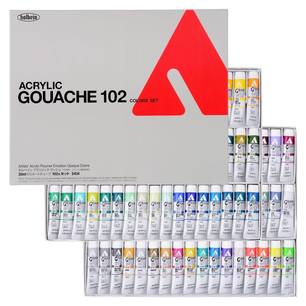 ホルベイン アクリラガッシュ 6号 チューブ 全色102色セット キャッシュレス 5%還元対象