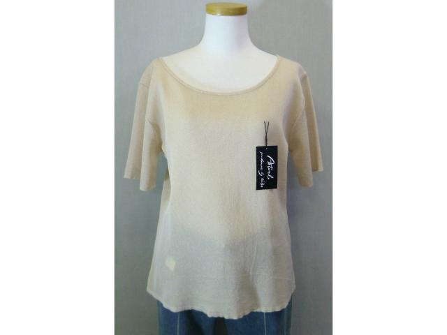 インナーにもなります Tシャツ ベージュ 水色 日本製 M 半袖 入手困難 アセテート レディース 至上
