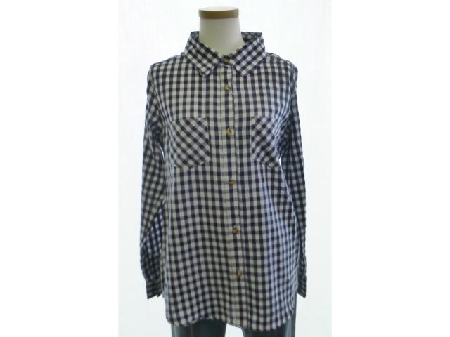 青のチェックシャツです チェックシャツ 大特価!! 青 白 チェック 買い物 レディース 格安 激安 ブラウス
