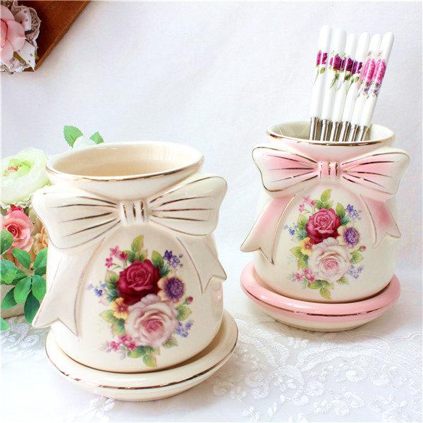 箸立て おしゃれ 大容量 北欧 陶器 薔薇 かわいい 姫系 ボタニカル 薔薇雑貨 花柄 かわいい 母の日ギフト