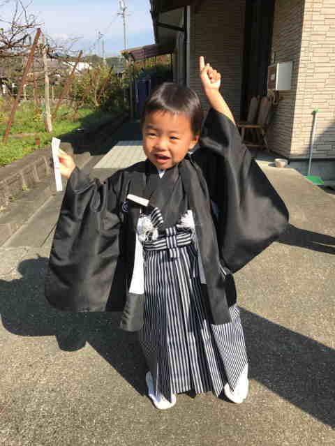 男児3歳身長100cm前後 【子供用黒紋付羽織袴レンタル】【10P03Sep16】