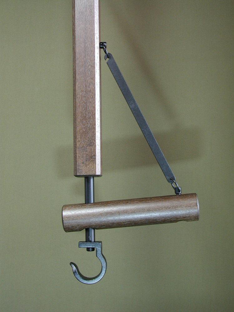 自在鉤 木製/丸太 全長180cm 切炉用