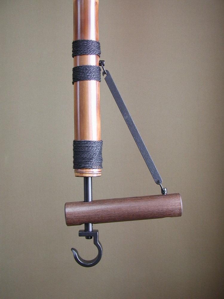 自在鉤 竹/丸太 全長180cm 切炉用