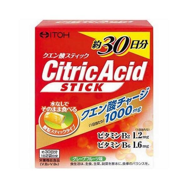 アクティブな生活を支えるクエン酸を水なしで手軽に摂れる 《井藤漢方製薬》 クエン酸スティック 4g×60袋 栄養機能食品 セール商品 『4年保証』 ビタミンB2 約30日分 ビタミンB6
