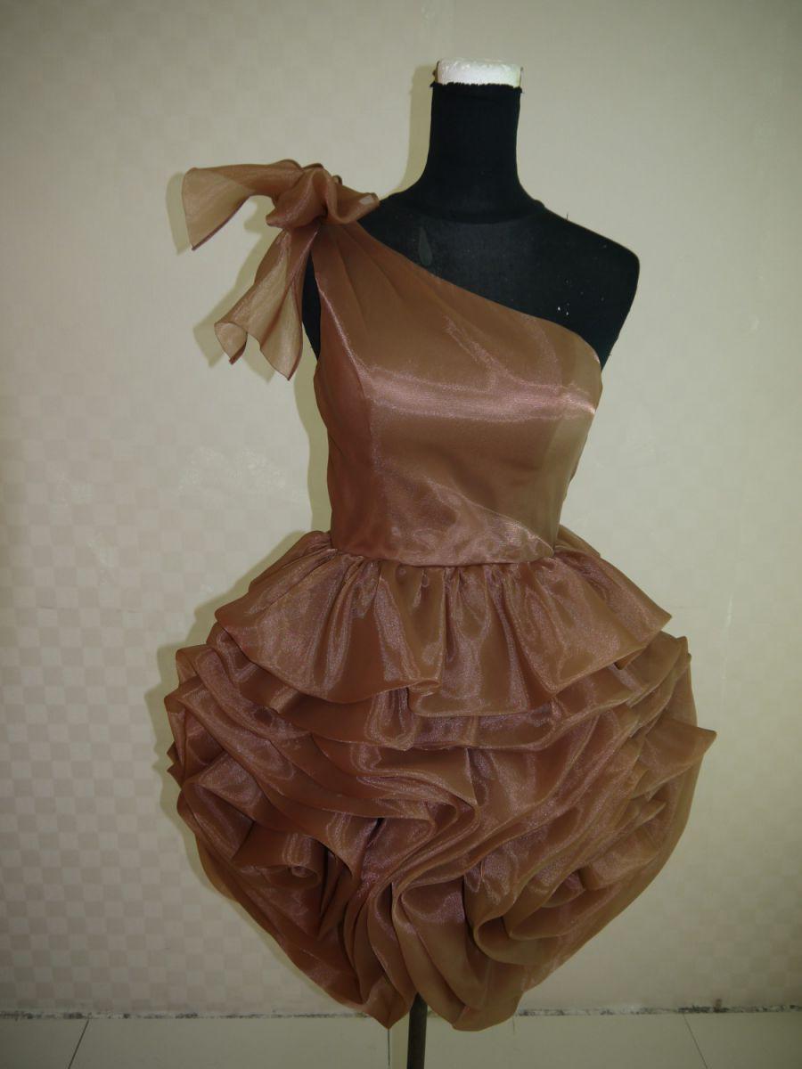 【全国送料無料】ワンショルダー 膝丈 タイト ラッフル ドレープ オーガンジー パーティー ドレス