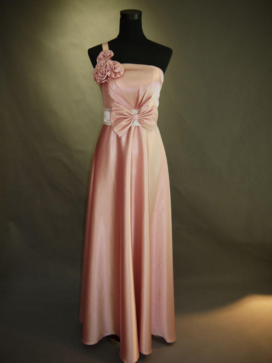 【全国送料無料】ワンショルダー ロング Aライン フレア サテン パーティー ドレス リボン、コサージュ