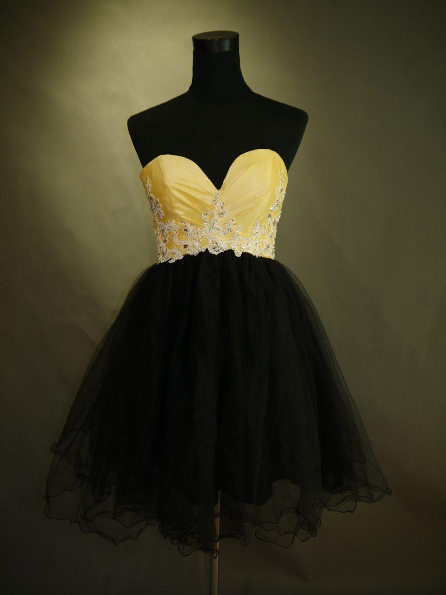 【全国送料無料】ビスチェ 膝丈 プリンセスライン オーガンジー パーティー ドレス ビーズ 飾り