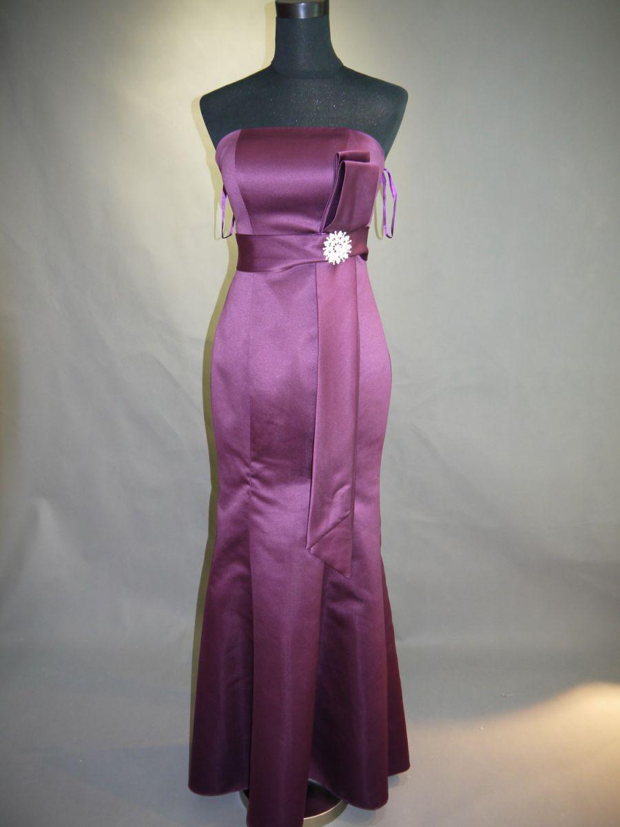 【全国送料無料】ビスチェ ロング マーメイドライン サテン パーティー ドレス ブローチ