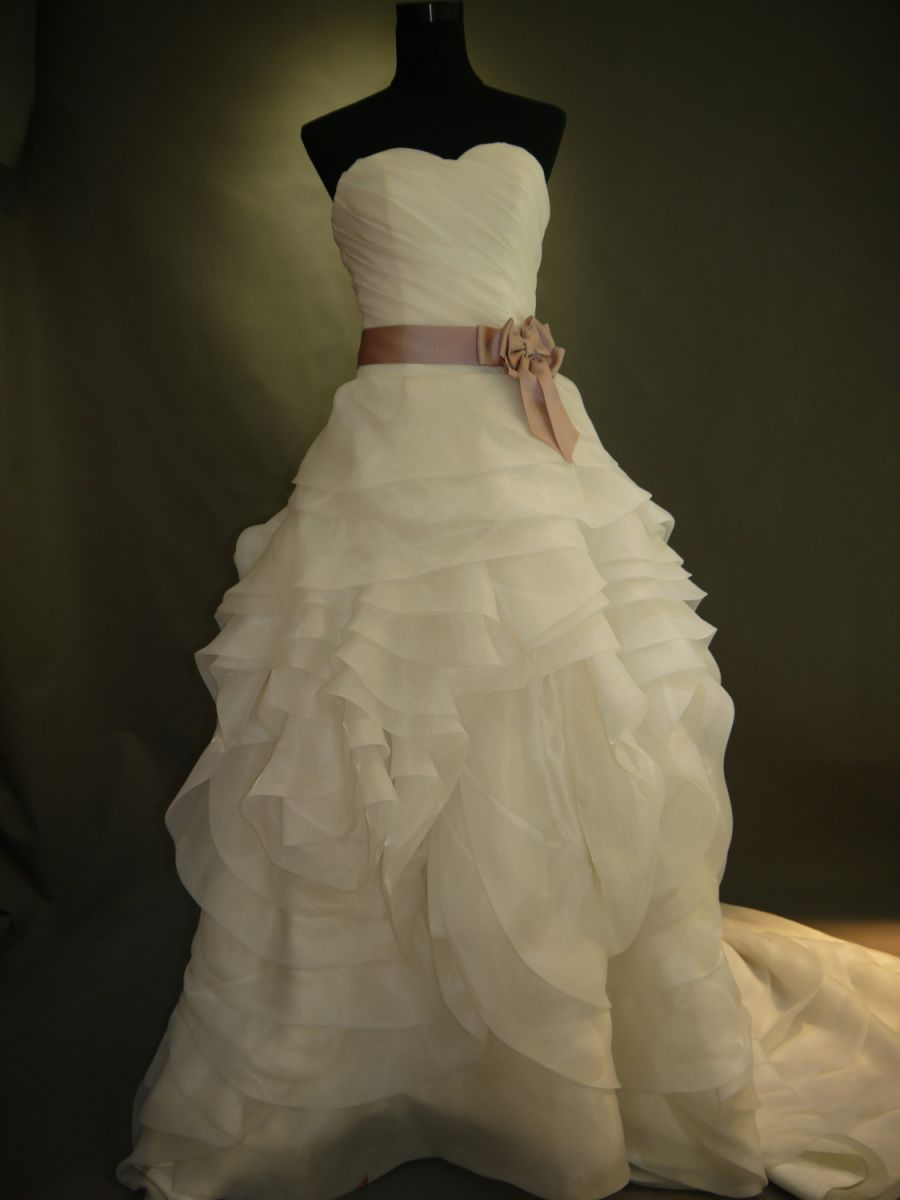 【全国送料無料】ビスチェ ロング プリンセスライン トレーン ドレープ オーガンジー ウェディング ドレス リボン