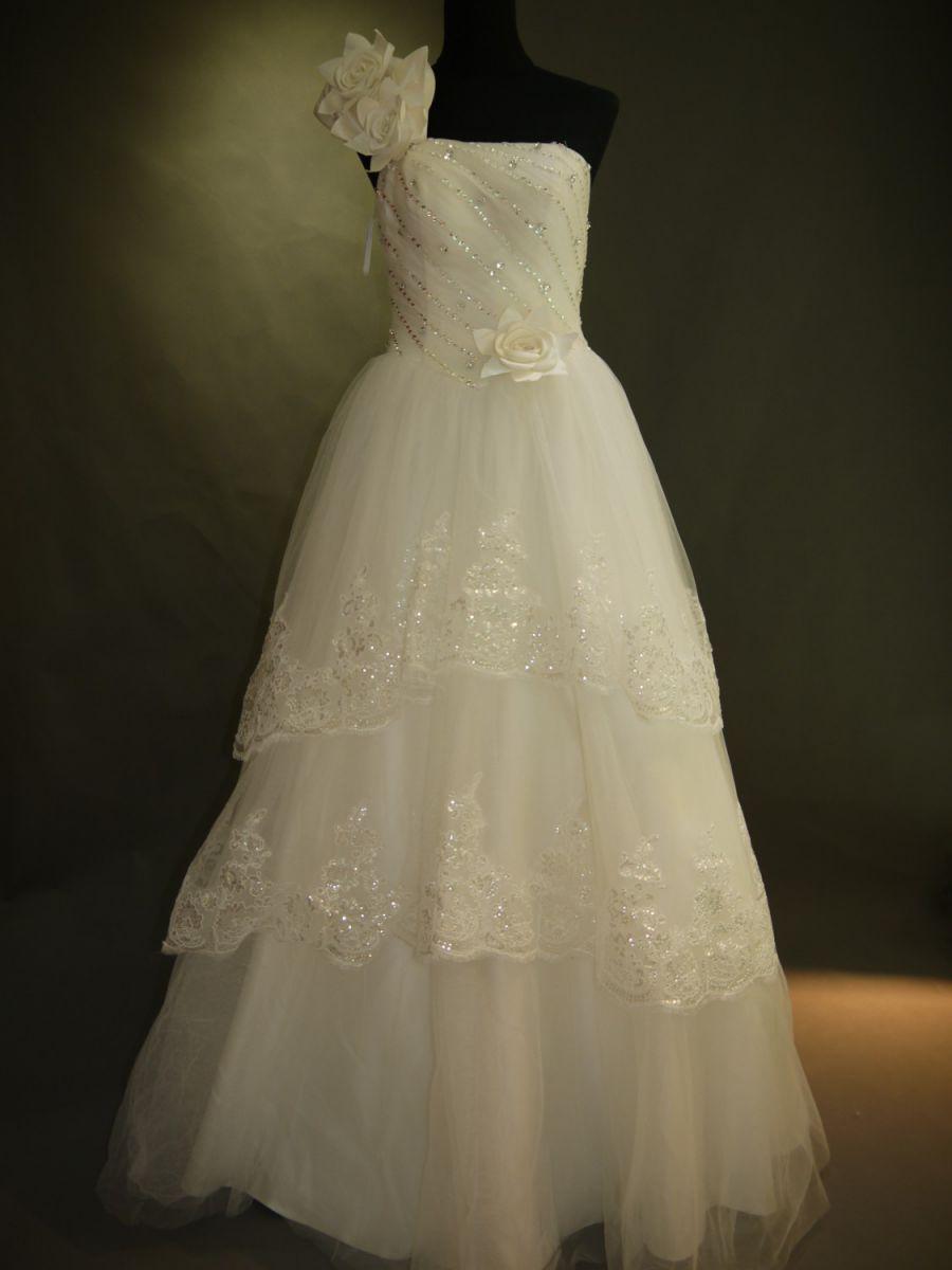 【全国送料無料】ワンショルダー ロング プリンセスライン ティアード レース オーガンジー ウェディング ドレス