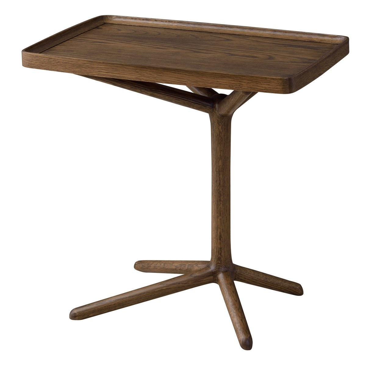 単品 2WAYサイドテーブル エンドテーブル コーナーテーブル 小型 脇台 机 ブラウン 茶