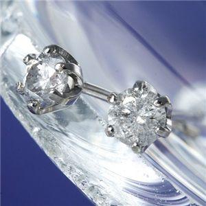 K18WG(ホワイトゴールド)計0.2ct一粒ダイヤモンドピアス 164714 白