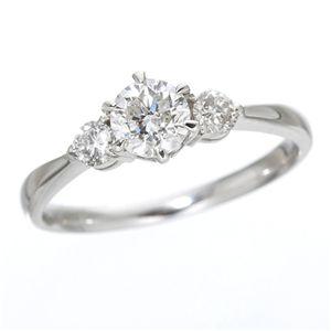 K18ホワイトゴールド0.7ct ダイヤリング 指輪 キャッスルリング 17号 白