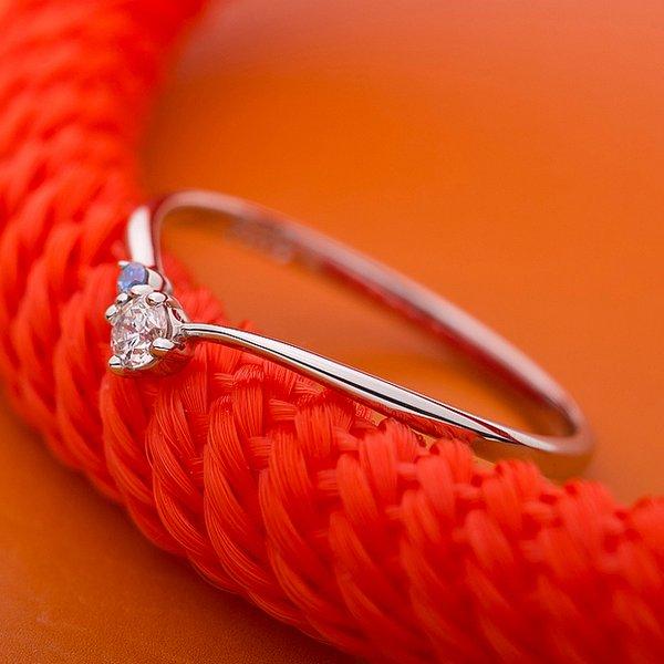【鑑別書付】プラチナPT950 天然ダイヤリング 指輪 ダイヤ0.05ct アイスブルーダイヤ0.01ct 13号 V字モチーフ 青