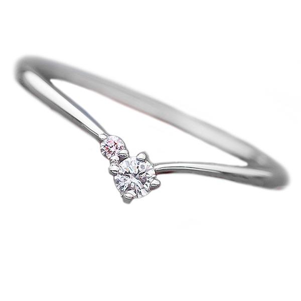 ダイヤモンド リング ダイヤ ピンクダイヤ 合計0.06ct 9号 プラチナ Pt950 V字モチーフ 指輪 ダイヤリング 鑑別カード付き