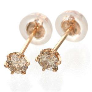 0.2ctダイヤモンドピアス ダブルキャッチ付き K18ピンクゴールド (ピンクゴールド)