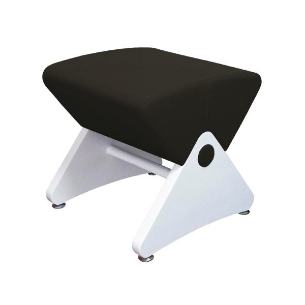 デザイナーズスツール イス バーチェア 椅子 カウンターチェア アジャスター付き ホワイト(布:ブラック/PU)【Mona.Dee】モナディー WAS01S 白 黒