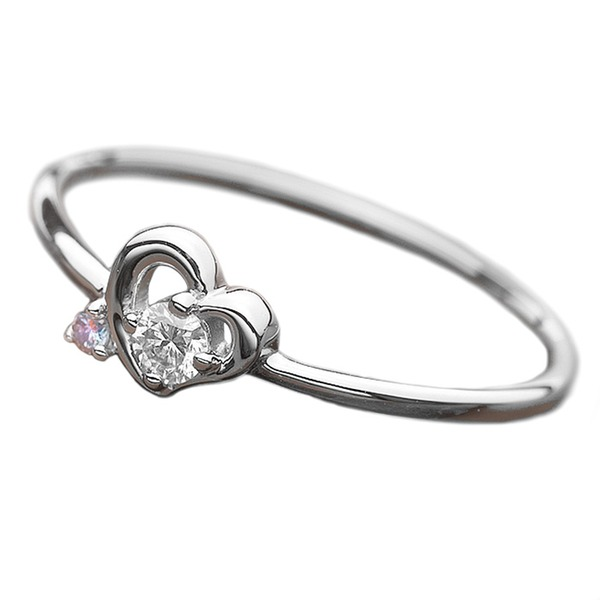 ダイヤモンド リング ダイヤ アイスブルーダイヤ 合計0.06ct 9号 プラチナ Pt950 ハートモチーフ 指輪 ダイヤリング 鑑別カード付き 青