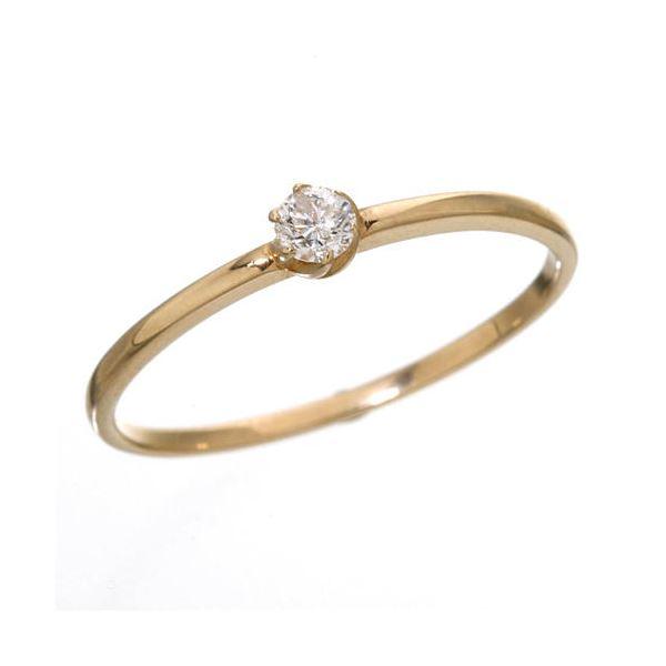 K18 ダイヤリング 指輪 シューリング ピンクゴールド 15号