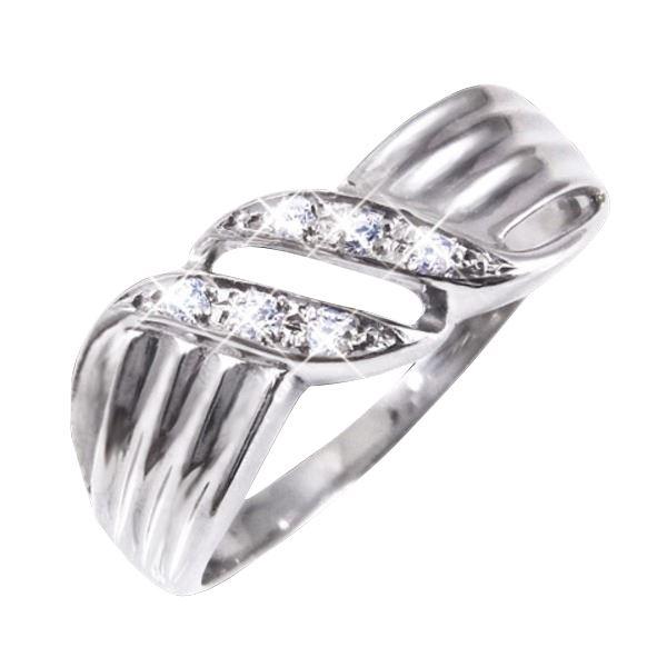 ダイヤリング 指輪ウェーブデザインリング 9号
