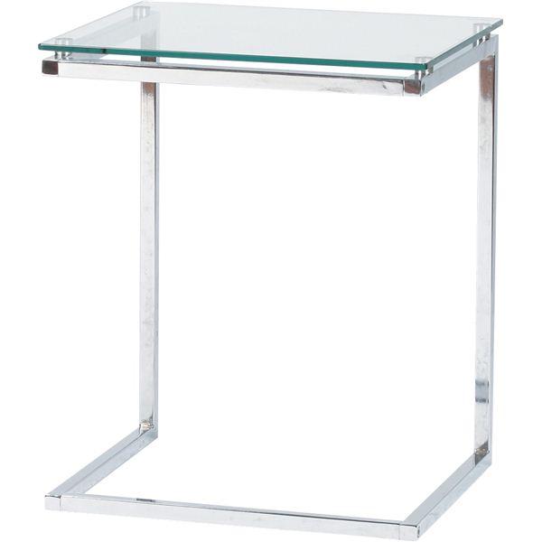 サイドテーブル スチール/強化ガラス製(ガラス天板) PT-15CL クリア