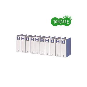 (まとめ)TANOSEE 両開きパイプ式ファイル A4タテ 80mmとじ 青 10冊