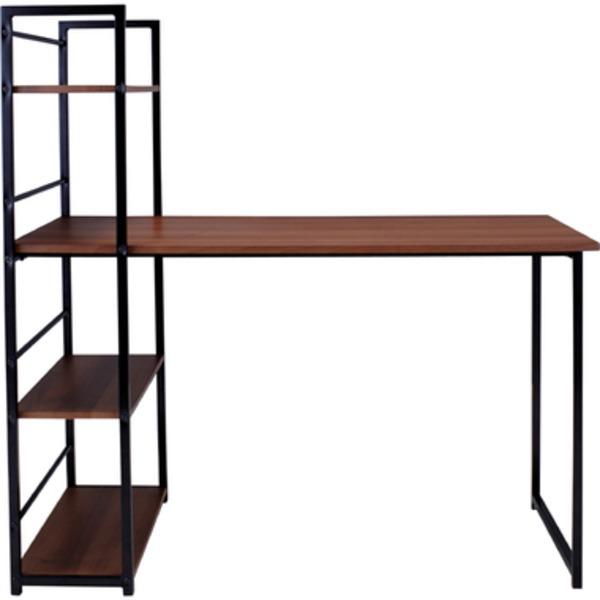 棚整理 収納付き デスク (テーブル 机) 木製/金属 スチール PT-461BR ブラウン 茶