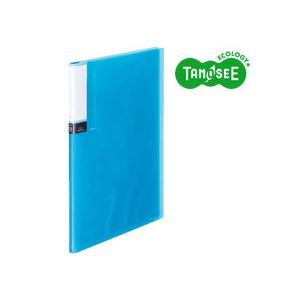 (まとめ)TANOSEE クリアブック(透明表紙) A4タテ 12ポケット ブルー 60冊