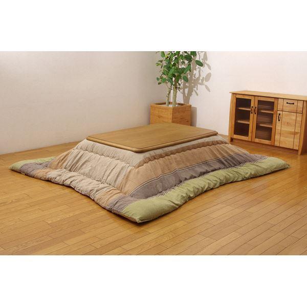 インド綿 こたつ厚掛け布団 こたつ布団 単品 グリーン 205×245cm 緑