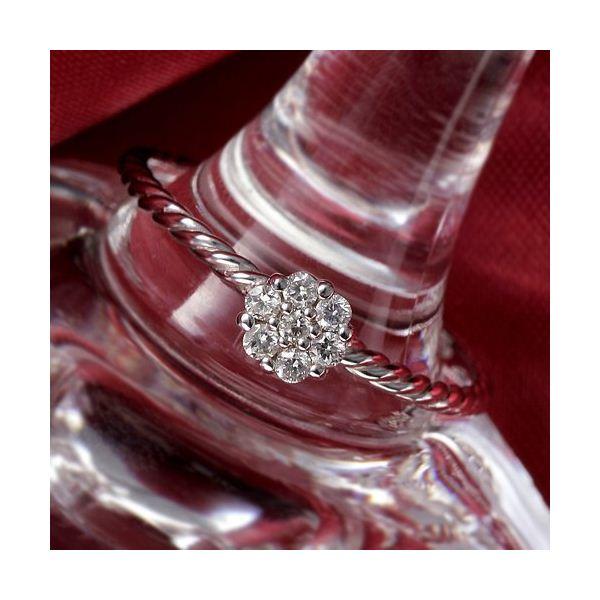 K14WG(ホワイトゴールド) ダイヤリング 指輪 セブンスターリング 17号 白