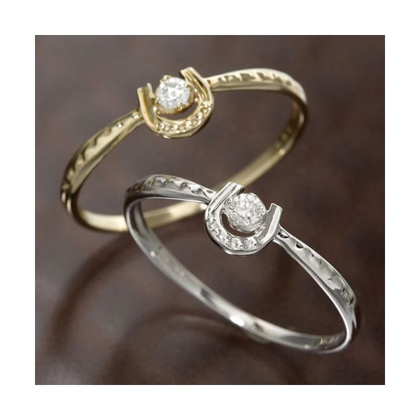 K10馬蹄ダイヤリング 指輪 イエローゴールド 15号 黄
